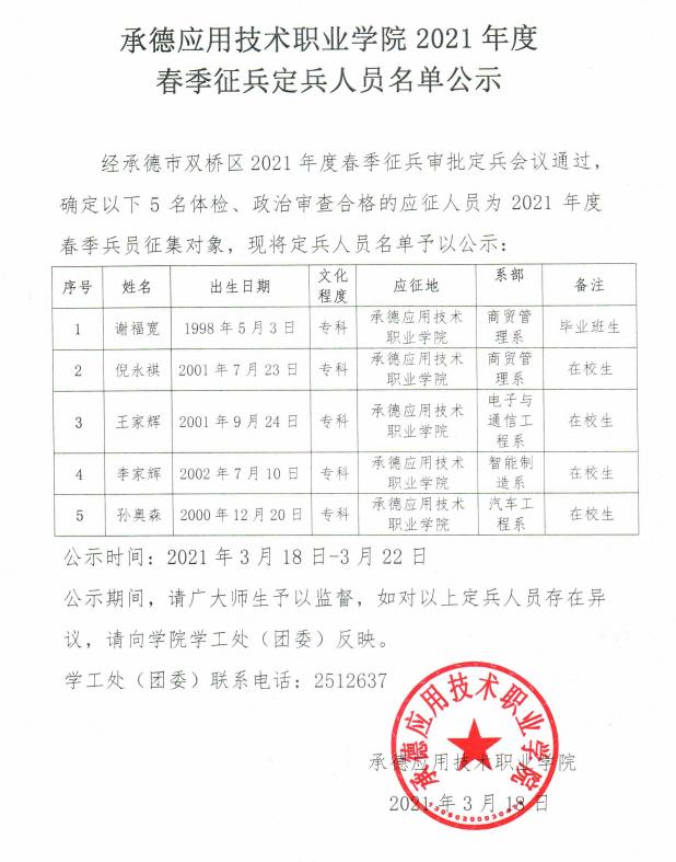 承德应用技术职业学院2021年度春季征兵定兵人员名单公示
